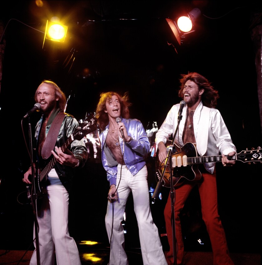 Maurice, from left, Robin and Barry Gibb of the Bee Gees, performing in 1979.