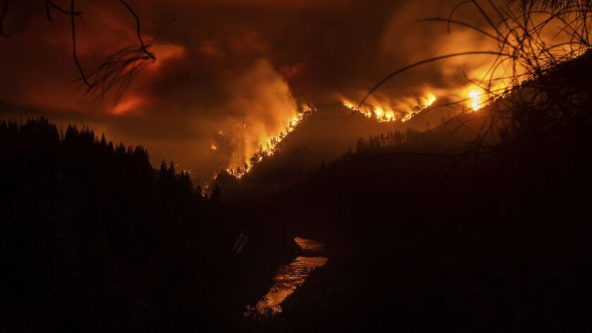 The Delta Fire burns in the Shasta-Trinity National Forest, Calif., on Wednesday, Sept. 5, 2018. Par