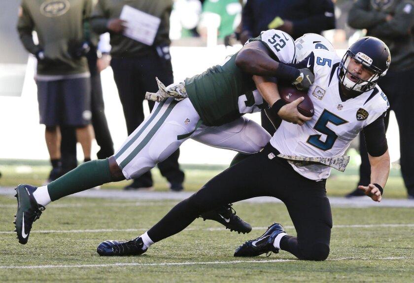 Jacksonville Jaguars quarterback Blake Bortles (5) is tackled by New York Jets inside linebacker David Harris (52) during the third quarter of an NFL football game, Sunday, Nov. 8, 2015, in East Rutherford, N.J. (AP Photo/Seth Wenig)
