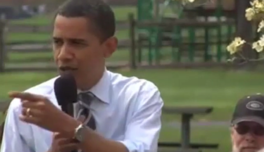 Candidate Obama points the finger at a vaccine denier during a rally in 2008, and not in a complimentary way.