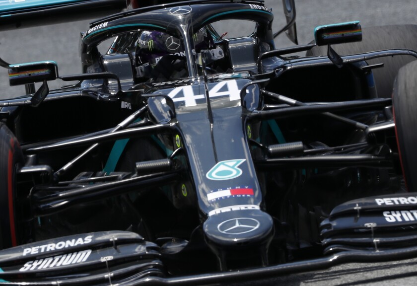 Mercedes driver Lewis Hamilton of Britain steers his car during the third practice session at the Red Bull Ring racetrack in Spielberg, Austria, Saturday, July 4, 2020. The Austrian Formula One Grand Prix will be held on Sunday. (Leonhard Foeger/Pool via AP)