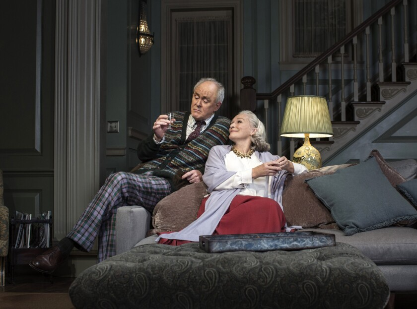 "John Lithgow and Glenn Close in a scene from Edward Albee's ""A Delicate Balance."""