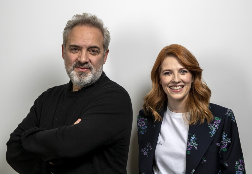 """""""1917"""" director Sam Mendes with his co-writer Krysty Wilson-Cairns."""