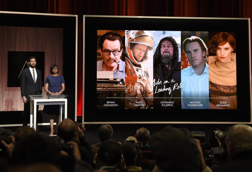Actor John Krasinski and Academy of Motion Picture Arts and Sciences President Cheryl Boone Isaacs announce the Oscar nominations for lead actor on Jan. 14.