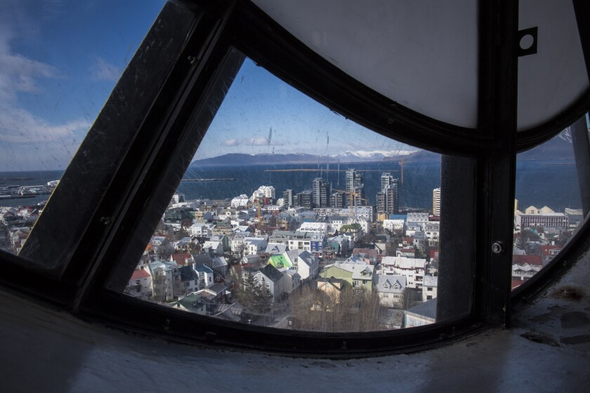 The view of buildings in downtown Reykjavík are seen from the top of Hallgrímskirkja, a Lutheran church which is also the national church of Iceland, on April 27. More than 60 percent of the country's population lives in or near by the costal capital city.
