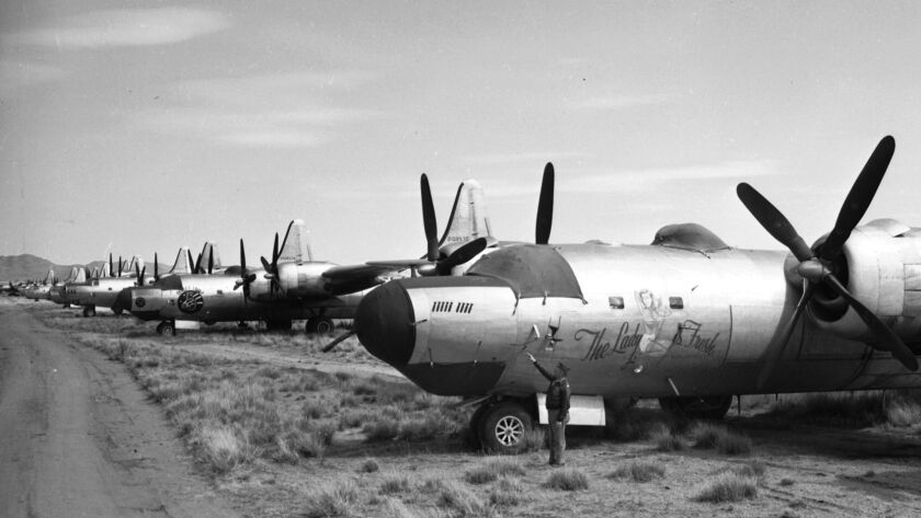 March 29, 1946: Surplus World War II aircraft sit at Kingman Army Airfield in Arizona awaiting dispo