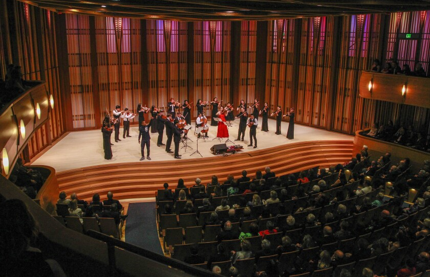 The grand finale at La Jolla Music Society's gala for the opening of The Conrad Prebys Performing Arts Center on Friday, April 5.