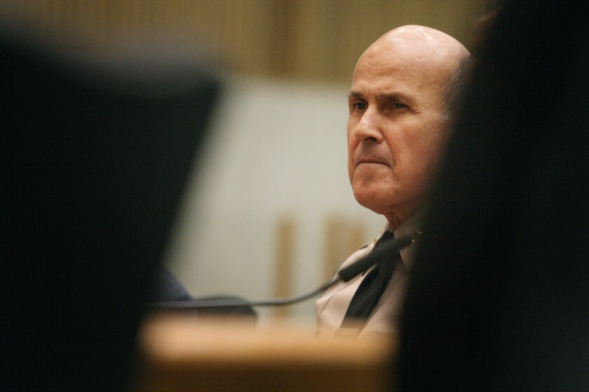 This is the first time a jury has held Los Angeles County Sheriff Lee Baca personally at fault in a deputy use-of-force case. Above, Baca in September.