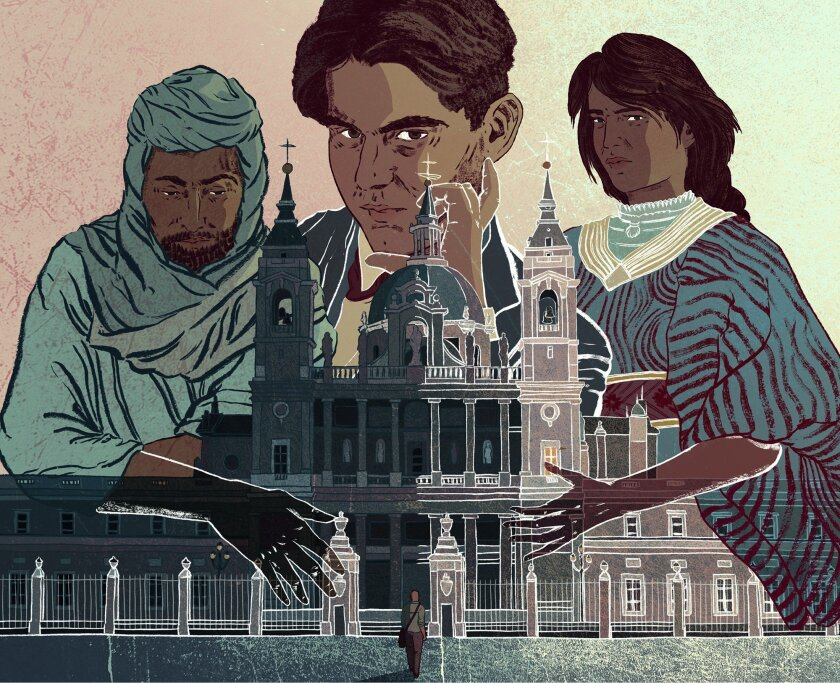 """A illustrated of Federico García Lorca, center, flanked by """"ghosts"""" of people colonized under Spanish rule."""