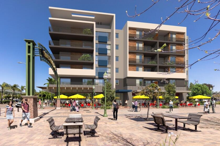 A rendering of the Aspire apartment project, proposed for downtown Escondido, adjacent to Maple Street Plaza