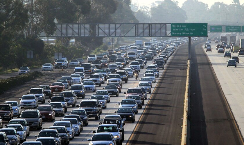 In this 2014 file photo, drivers crawl along northbound Interstate 805 at Clairemont Mesa Blvd, which ranked first in the San Diego Union-Tribune's list of San Diego County's worst freeway bottlenecks.