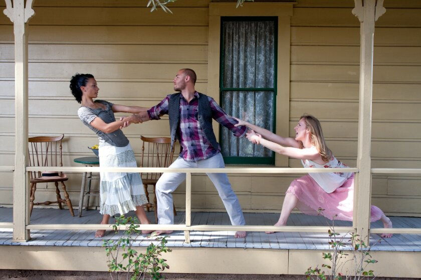 "From left: Caryn Glass, Nicholas Strasburg and Blythe Barton star in ""Snakeskin."""