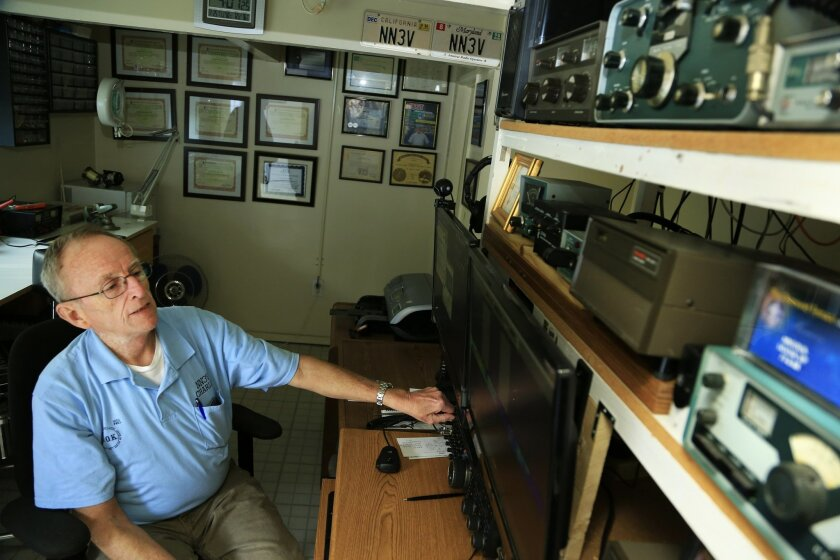 Charlie Ristorcelli is the president of the Poway Amateur Radio club and has been an expert in the craft for over 30 years, including time served in the Navy and with NSA. Ristorcelli has a sophisticated system established in his Poway home that allows him to make radio communications around the globe.