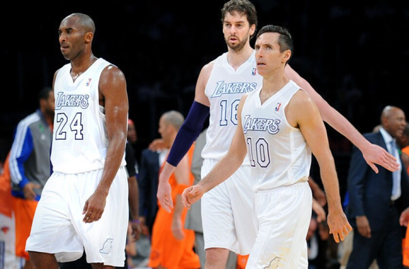 NBA veterans Kobe Bryant (24), Pau Gasol and Steve Nash (10) come with a hefty price tag as the Lakers try to rebuild their roster