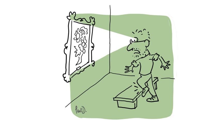 A Paul Demeyer cartoon puts a spotlight on the animation diretor's advanced diabetic retinopathy.