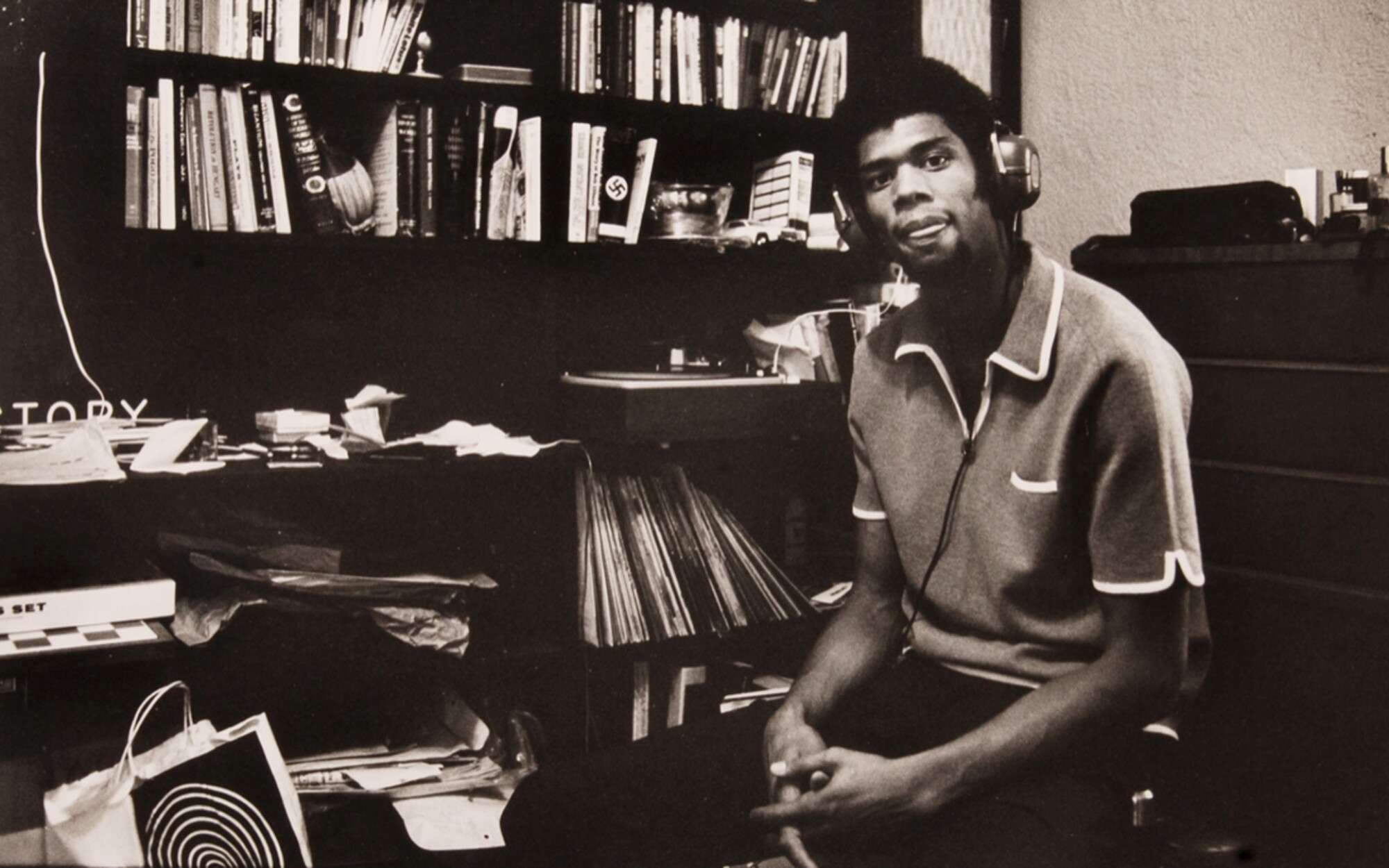 Kareem Abdul-Jabbar with his music collection in 1969.