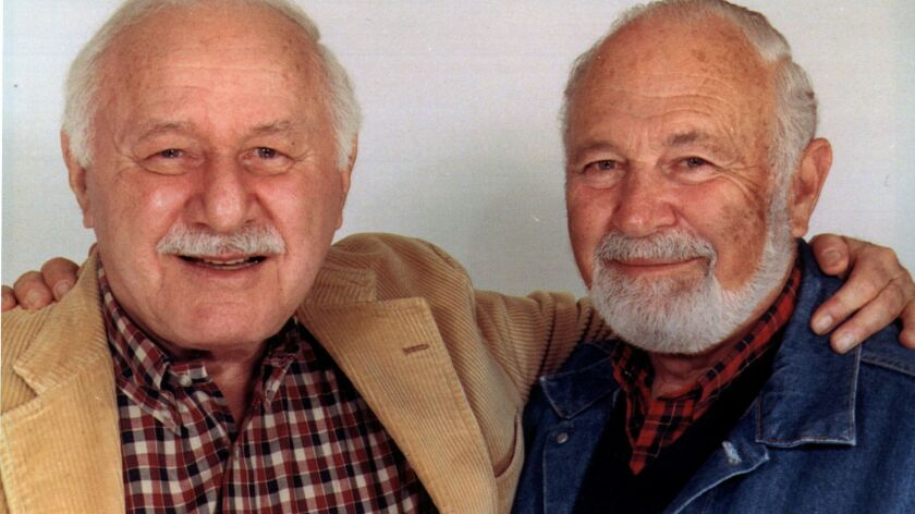 "Bob Schiller, right, with longtime writing partner Robert ""Bob"" Weiskopf in the early 1990s."