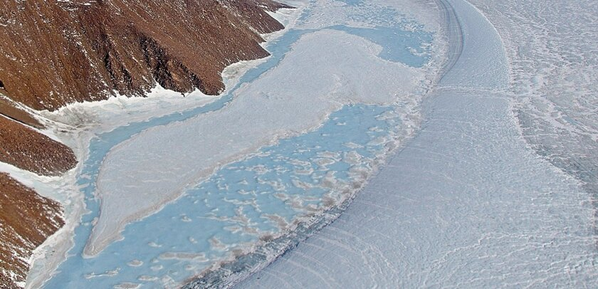 A NASA image shows an area of northeast Greenland as it looked on April 19, 2013. A study published online Monday showed Greenland ice loss is accelerating, driven in part by local forces responding to climate change. The results could refine climate change prediction models, researchers say.
