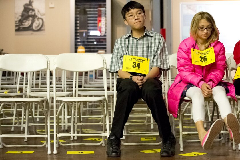 Advancing to the final round of the spelling bee are Giabao Tonthat (Heritage K-8 Charter), Avi Waldman (Francis Parker).