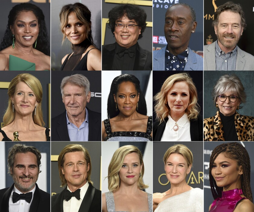 This combination of photos shows, top row from left, Angela Bassett, Halle Berry, Bong Joon Ho, Don Cheadle and Bryan Cranston, second row from left, Laura Dern, Harrison Ford, Regina King, Marlee Matlin and Rita Moreno, and bottom row from left, Joaquin Phoenix, Brad Pitt, Reese Witherspoon, Renee Zellweger and Zendaya, who will serve as presenters at the 93rd Oscars on April 25. (AP Photo)