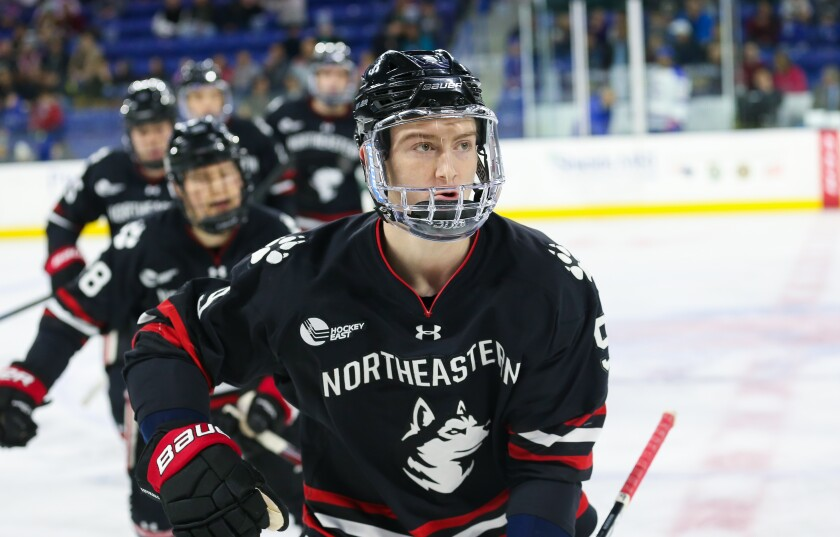 Kings prospect Tyler Madden played the last two seasons at Northeastern.