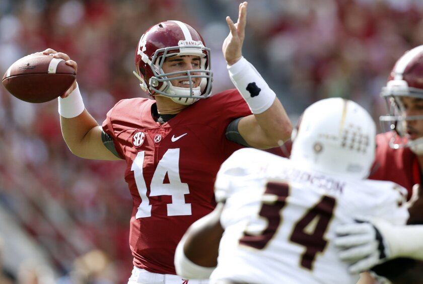 FILE - In this Sept. 26, 2015, file photo, Alabama quarterback Jake Coker (14) throws a pass during the first half of an NCAA college football game against Louisiana Monroe in Tuscaloosa, Ala. In Athens, Georgia, the Bulldogs (4-0, 2-0) host No. 13 Alabama (3-1, 0-1), on Saturday, which looks to bounce back from a 43-37 home loss to Ole Miss nearly two weeks ago. It's the first meeting between the schools since the 2012 SEC title game won 32-28 by the Crimson Tide. (AP Photo/Jonathan Bachman, File)
