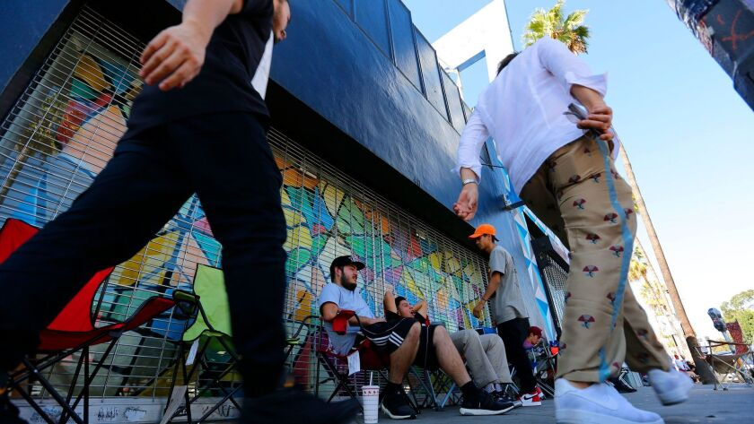 LOS ANGELES, CA Oct. 19, 2016 - Streetwear hipsters hang outside Supreme on Fairfax Oct. 19, 2016. F