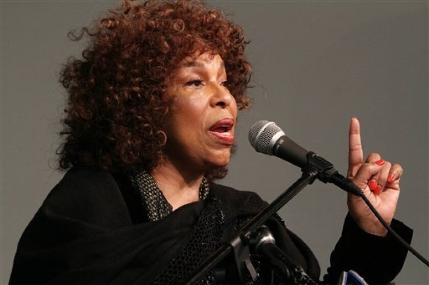 """Singer Roberta Flack speaks during a tribute to """"Soul Train"""" creator Don Cornelius at Rev. Al Sharpton's National Action Network in New York Saturday, Feb. 4, 2012. Cornelius died this week at his Los Angeles home of a self-inflicted gunshot wound. He was 75. (AP Photo/Tina Fineberg)"""