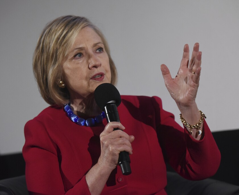 Former Secretary of State Hillary Clinton speaks during the Trailblazing Women of Park Ridge event in Park Ridge, Ill., Friday, Oct. 11, 2019.