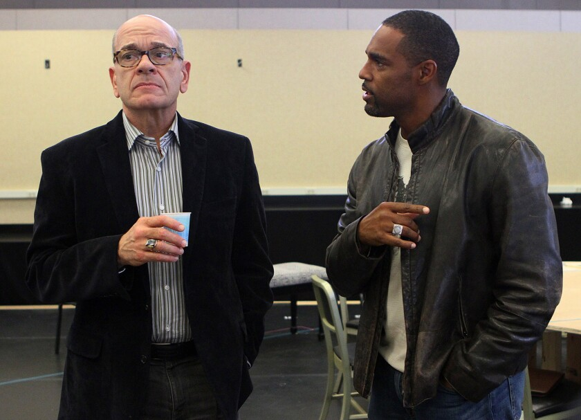 """Actors Robert Picardo and Jason George, both jurors in the play """"Twelve Angry Men"""" rehearse a scene at the Pasadena Playhouse rehearsal studio in Pasadena on Tuesday, Oct. 29, 2013."""