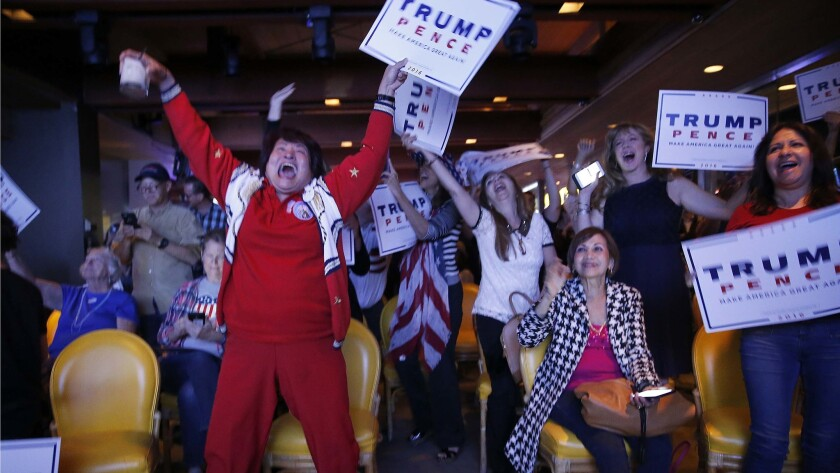 Nellie Gillogly, left, of Santa Ana, and fellow Republicans erupt in celebration as Donald Trump wins Florida. OCGOP election party is at China Palace in Newport Beach.