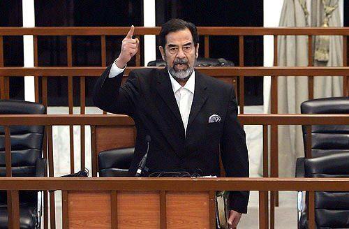 Saddam Hussein yells
