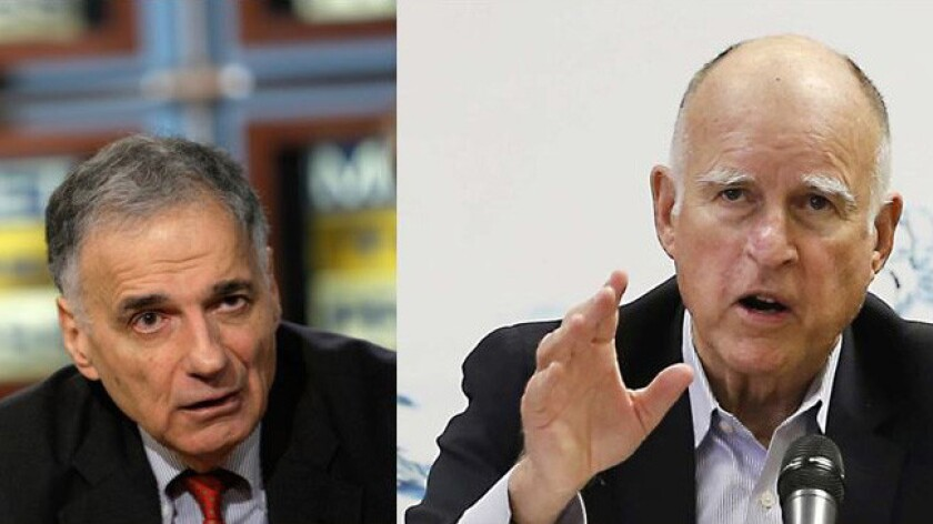 Ralph Nader and Gov. Jerry Brown at odds