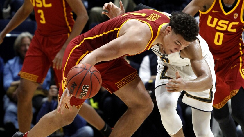 USC's Jordan Usher tracks down a loose ball during the second half of the game against California on Friday.