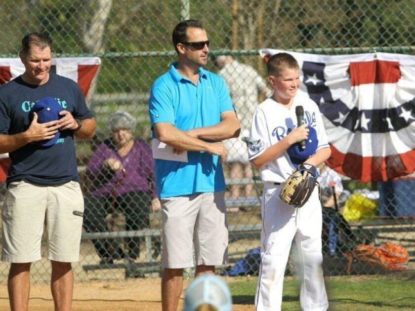 Board Vice President Mike Sweeney, President Jeff Daley, player MJ Sweeney at Rancho Santa Fe Little League's 2016 Opening Day ceremonies Feb. 27 at RSF Sports Field. Photo by Jon Clark