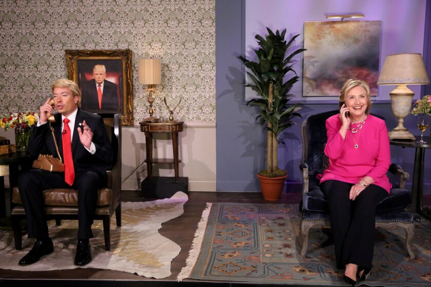 """Tonight Show"" host Jimmy Fallon as Donald Trump and Hillary Rodham Clinton during the ""Trump calls Hillary"" skit."