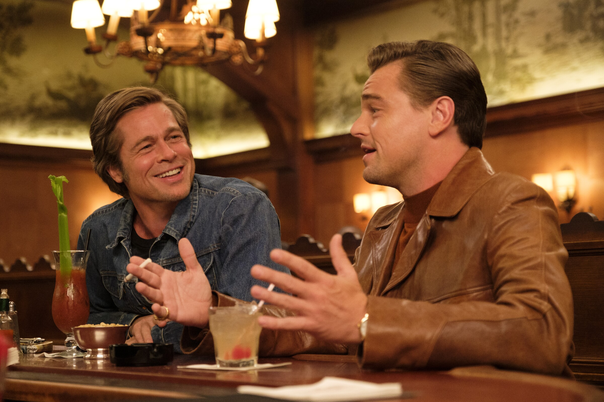 "From left, Brad Pitt and Leonardo DiCaprio in a scene from Quentin Tarantino's ""Once Upon a Time ... in Hollywood."""