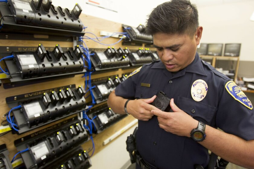 Chula Vista Police Department is one of the agencies in San Diego County using cameras while they are out on calls. The camera is mounted in the front of the officers uniform and has a fisheye camera lens.  Officers turn the camera on at their discretion. In the charging room, officer Alan de la P