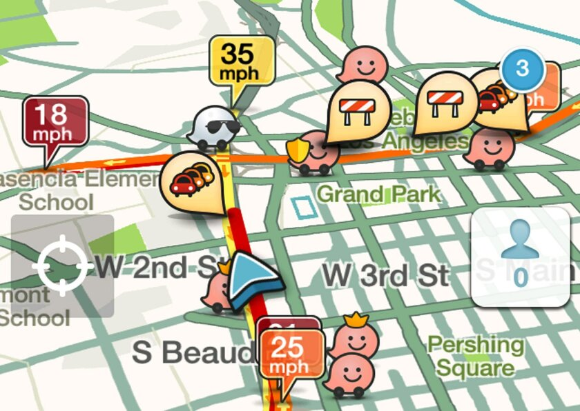 This cell phone screen capture shows traffic alerts along a route displayed on a cell phone app called Waze, in Los Angeles on Monday, Nov. 24, 2014. Whether traveling by plane, train or automobile, getting from Point A to Point B can be a headache. Technology provides relief in the form of apps th