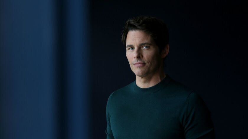 """WEST HOLLYWOOD, CA-APRIL 8, 2019: James Marsden, who stars in the upcoming Netflix black comedy, """"D"""