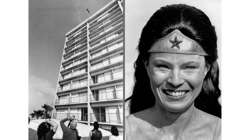 Feb. 12, 1979: Stuntwoman Kitty O'Neil established a new high-fall record when she plunged 127 feet