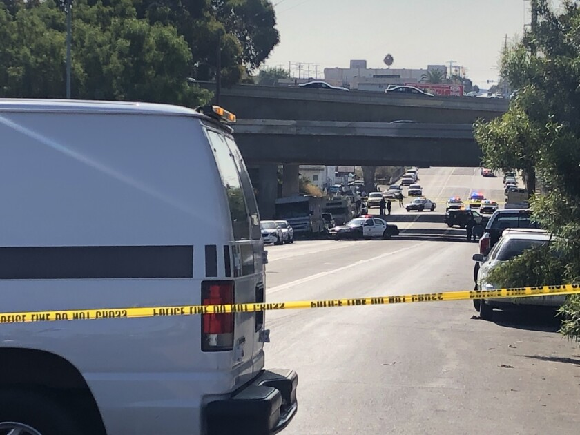 Dozens of San Diego police officers responded to National Avenue in Logan Heights on Monday afternoon after an officer shot a person during some type of altercation between 33rd and 35th street.