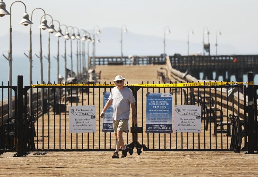 John Dodson, 69, takes a walk to the Ventura Pier on Wednesday.