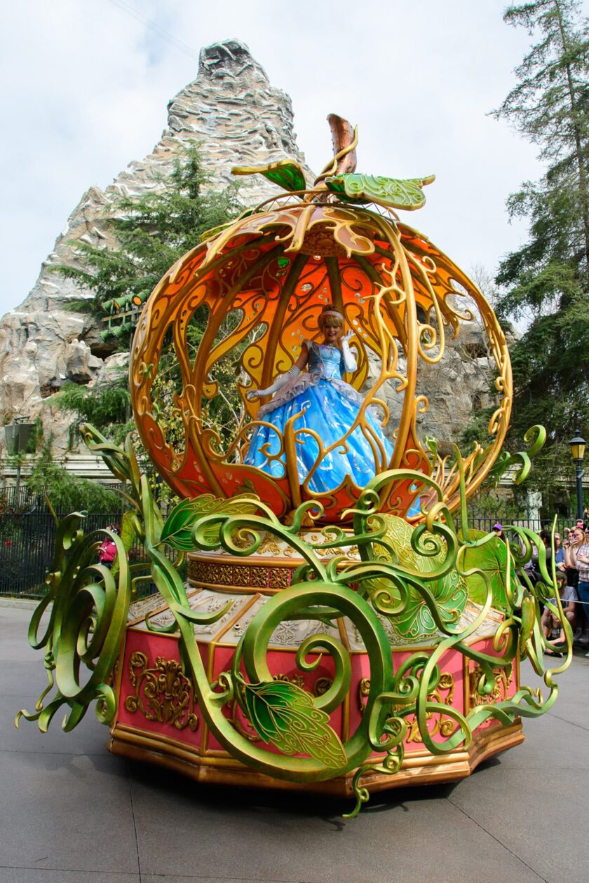 """The Cinderella float in Disneyland's new """"Magic Happens"""" parade, which debuted on Feb. 28, 2020."""