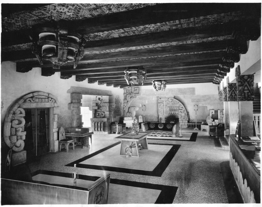 ME.0323.Aztec3.copy of 1927 file photo of the main lobby of the Aztec Hotel. A faithful adaptation o