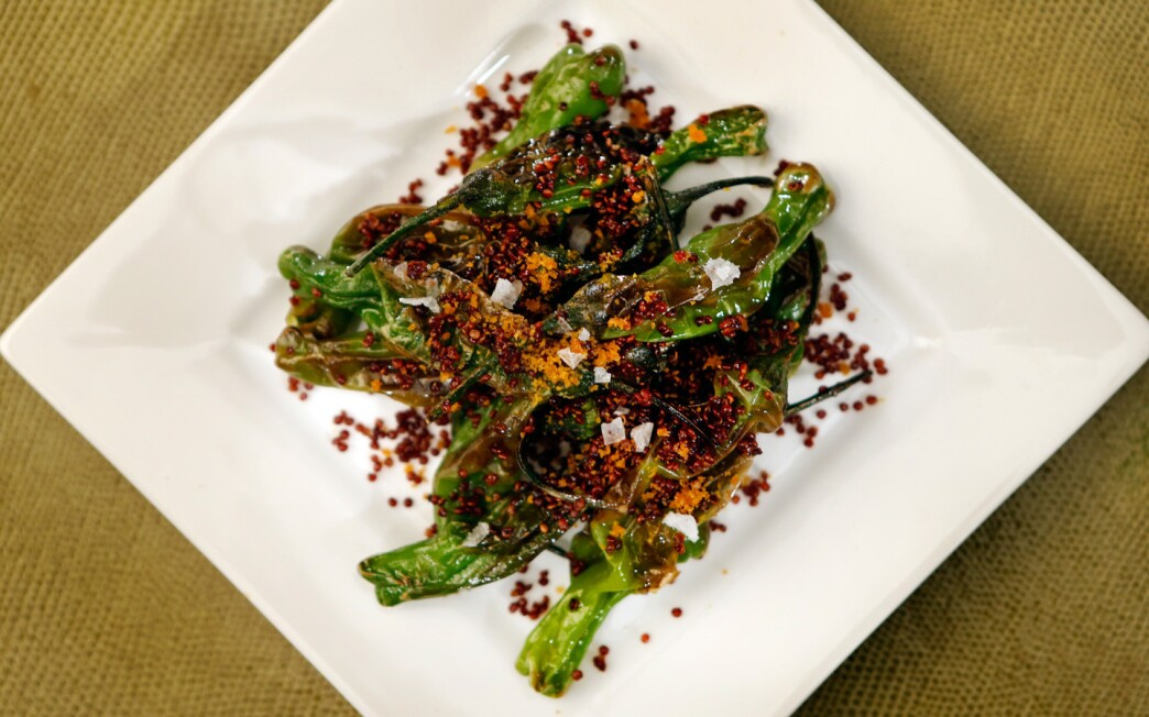 Spicy shishitos with crispy quinoa