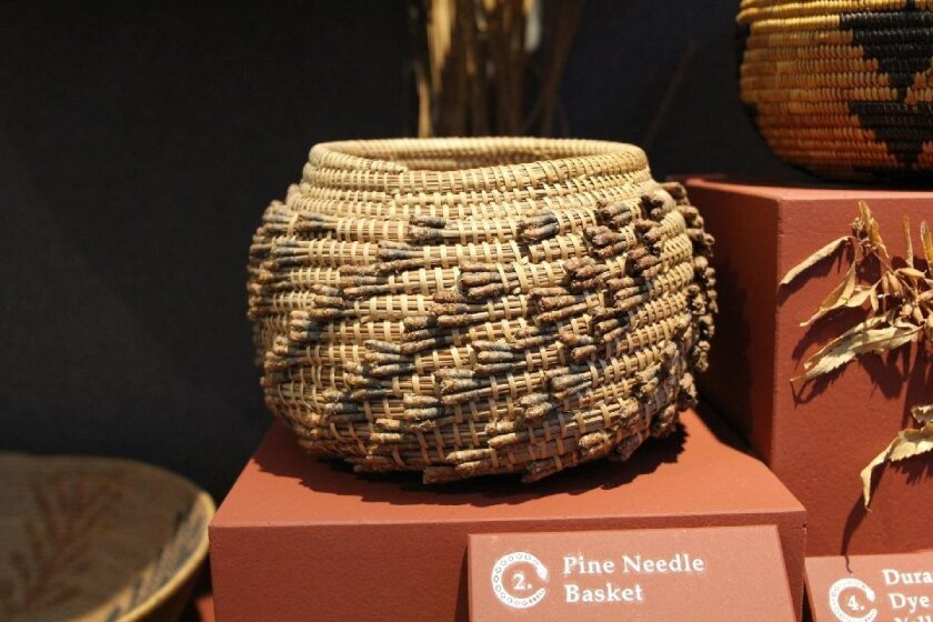 Pine needle basket weaved on the traditional Southern California Indian American way.