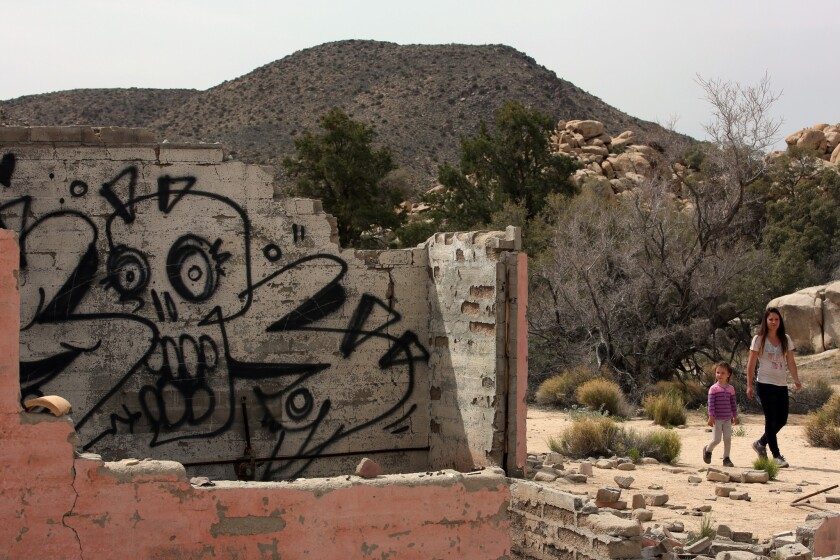 The defaced remains of a house in Joshua Tree National Park on April 10.