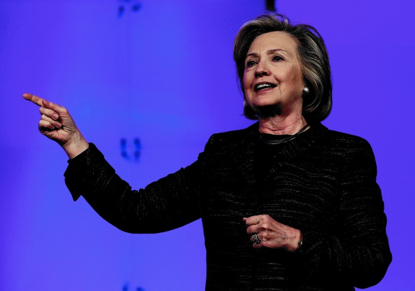 Former U.S. Secretary of State Hillary Clinton has the support of 49% of California voters, compared with 26% for Gov. Jerry Brown, in a theoretical race for president.