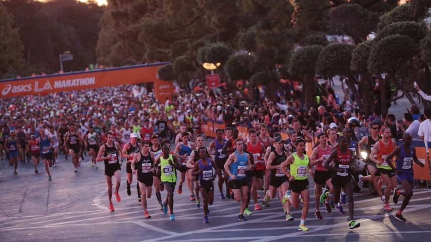 LOS ANGELES, CALIF. -- SUNDAY, MARCH 15, 2015: Elite runners at the start of the 30th L.A. Marathon